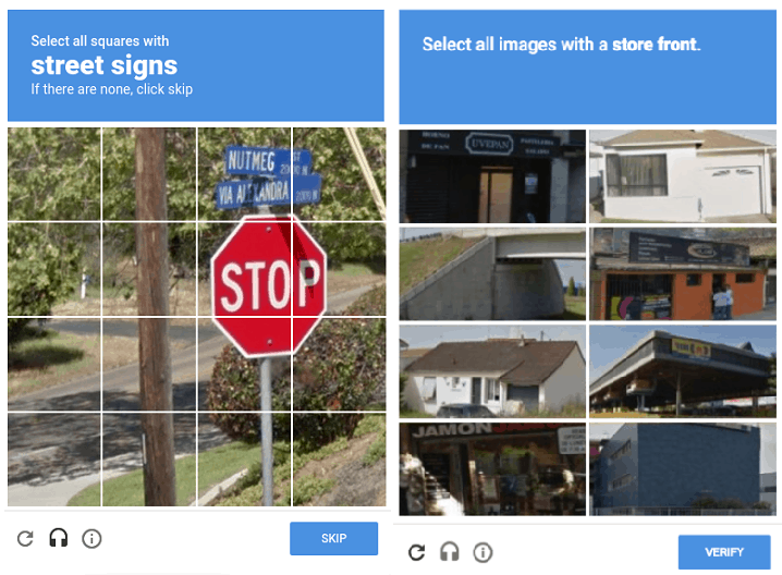 captcha google street signs and store front